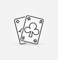 Poker pair aces outline concept icon vector