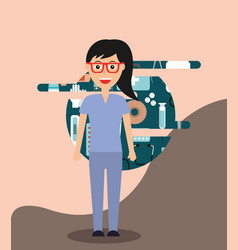 Profesional female doctor medical hospital work vector