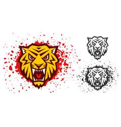 Retro sport logo with head a tiger vector
