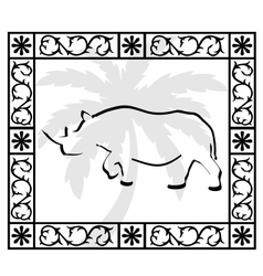 Rhino and palm vector