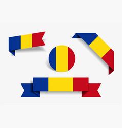 romanian flag stickers and labels vector image
