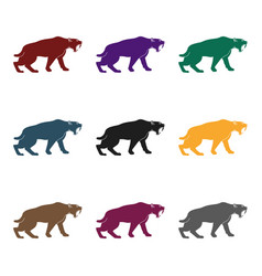 Saber-toothed tiger icon in black style isolated vector