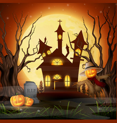 scary church background with scarecrow and pumpkin vector image