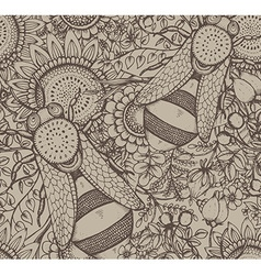 Seamless pattern with bee flowers and berries vector