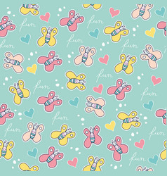 Seamless pattern with doodle butterflies vector