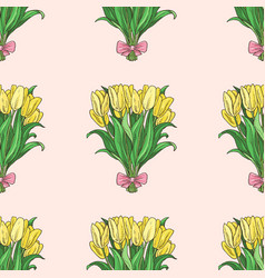 seamless pattern with hand drawn tulip bouqet vector image