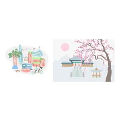 seoul city and traditional village vector image