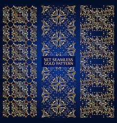 set golden lace pattern blue vector image