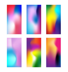Set of modern colored wallpapers elegant blurred vector