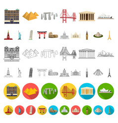 sights of different countries cartoon icons in set vector image