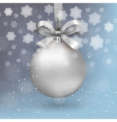 Silver christmas ball vector