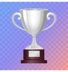 Silver Cup on Big Base with Light Blue Background vector
