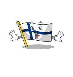 Surprised flag finland face gesture on cartoon vector