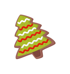 sweet gingerbread in shape of christmas tree vector image