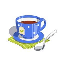 Tea cup and spoon vector image