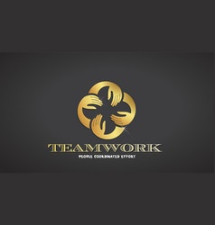 teamwork hands logo template gold color vector image