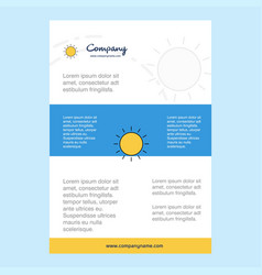 template layout for sun comany profile annual vector image