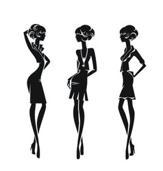 Three silhouette stylish girls isolated on a white vector image