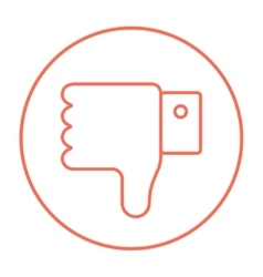 Thumb down hand sign line icon vector