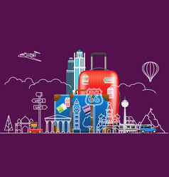 travel concept with famous sights and accessories vector image