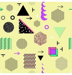 Trendy geometric elements memphis cards seamless vector image