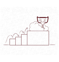Trophy cup with statistics bars vector