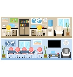 Two office interior vector