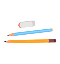 two pencils and eraser flat design vector image
