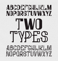 two types of font - full and hollow black capital vector image