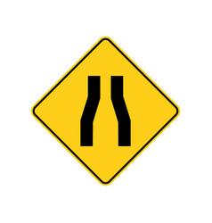 usa traffic road signs pavement narrows vector image