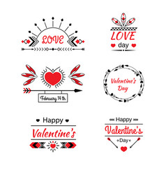 valentines day and elements of the printing vector image