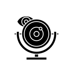 web camera black icon sign on isolated vector image