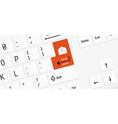 white keyboard with send spam key and envelope vector image