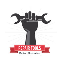 Wrench and hand tool icon repair concept vector