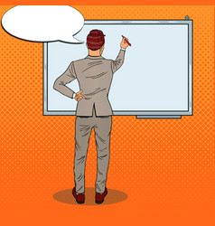 businessman drawing on the whiteboard pop art vector image vector image