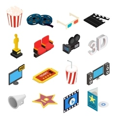 Cinema isometric 3d icons set vector image vector image