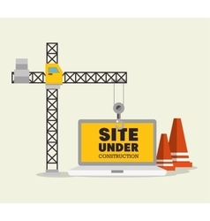 construction crane and cone site under vector image