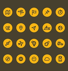 Different line style icons on color circles set vector image vector image