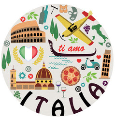 Italy Symbols of cities set vector image