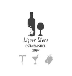 liquor - alcohol store or bar logo template vector image vector image