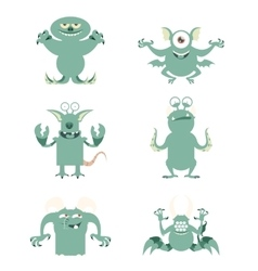 Set of flat moster icons10 vector image