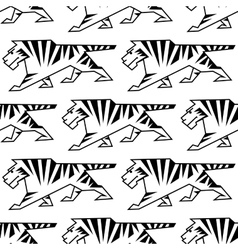 Wild tiger outline seamless pattern vector image vector image