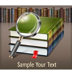 Books and magnifying glass on vector image vector image