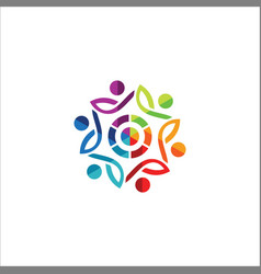 circle people abstract colorful logo vector image