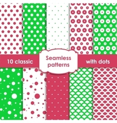 Classic green and pink seamless patterns with dots vector image