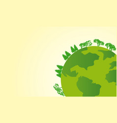 Earth day with world and green tree background vector