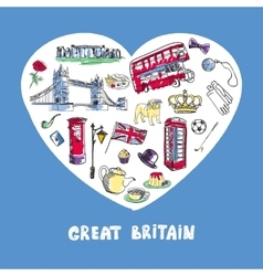 Great Britain Colored Doodles Collection vector image