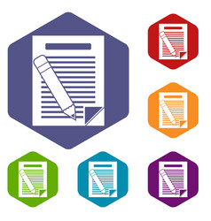 paper and pencil icons set vector image vector image