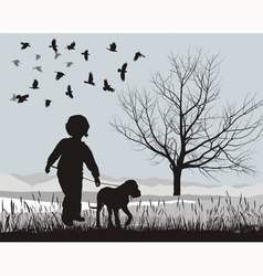 Puppy and boy in the winter vector image vector image