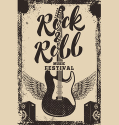 rock and roll music festival poster template vector image